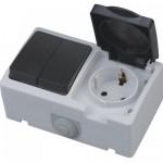 Розетка с заземлением с крышкой + выключатель двухклавишный ATOM